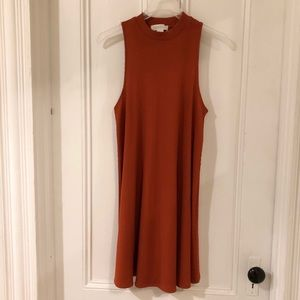 Rust colored mock neck sweater dress